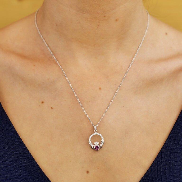 Claddagh Birthstone February Pendant Adorned With Swarovski Crystal Sw101Ay_2