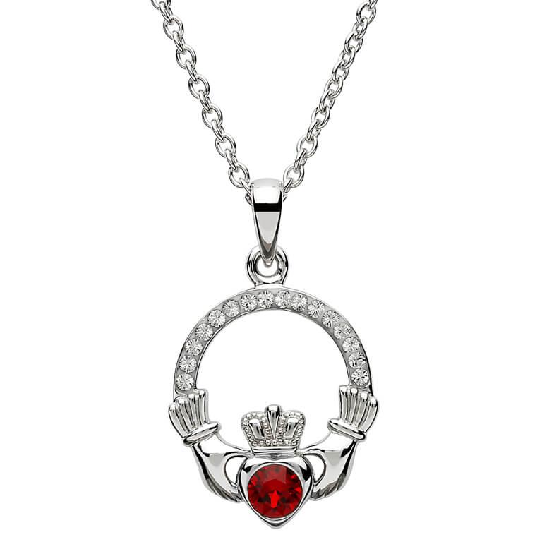 Claddagh Birthstone January Pendant Adorned With Swarovski Crystal Sw101G