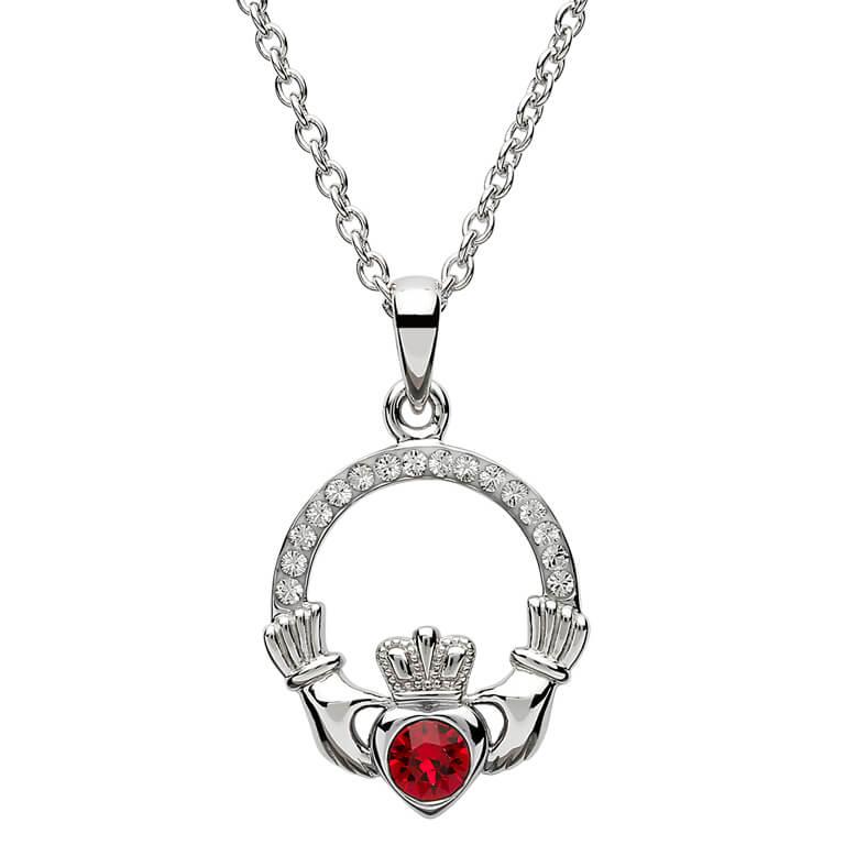 Claddagh Birthstone July Pendant Adorned With Swarovski Crystal Sw101Rb