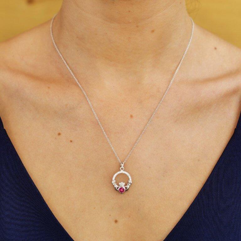 Claddagh Birthstone July Pendant Adorned With Swarovski Crystal Sw101Rb_2