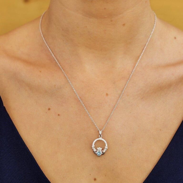 Claddagh Birthstone March Pendant Adorned With Swarovski Crystal Sw101Aq_2