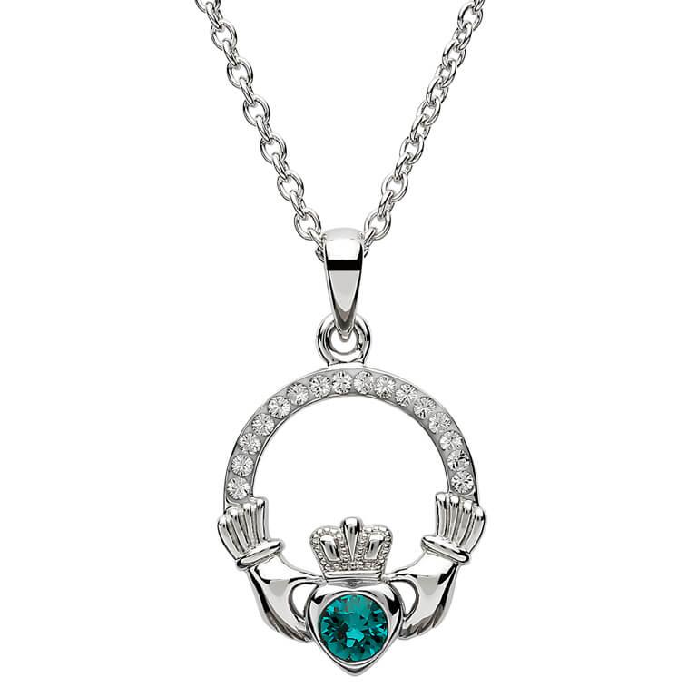 Claddagh Birthstone May Pendant Adorned With Swarovski Crystal Sw101Gr