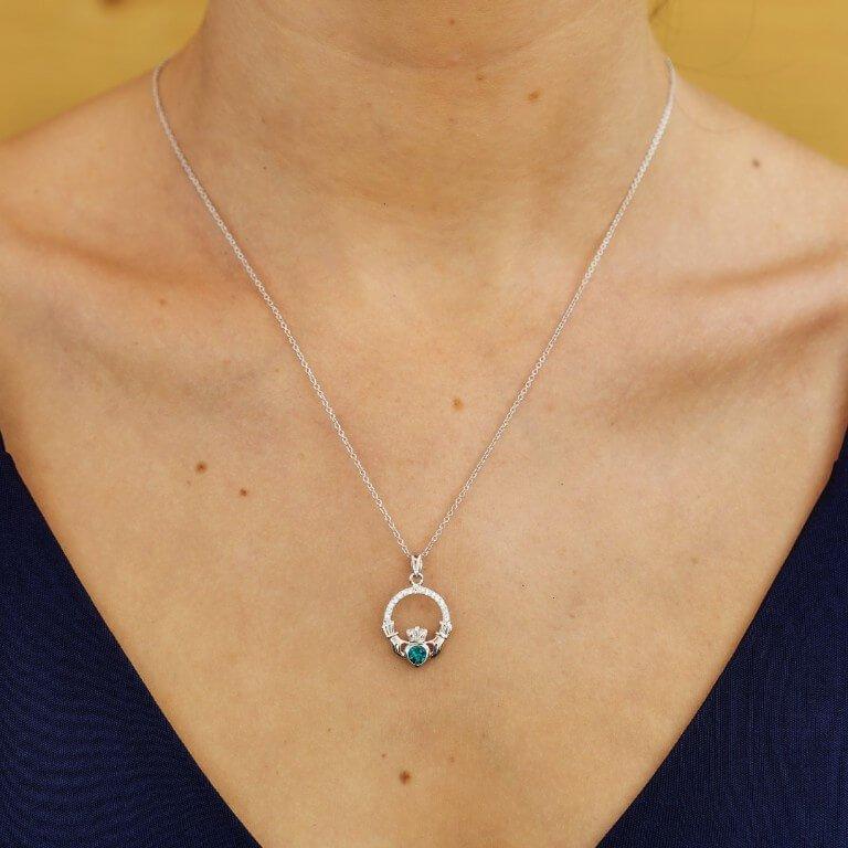 Claddagh Birthstone May Pendant Adorned With Swarovski Crystal Sw101Gr_2