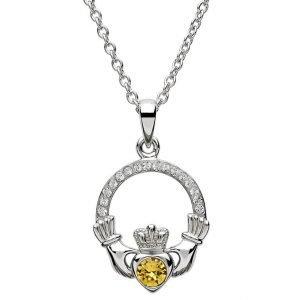 Claddagh Birthstone November Pendant Adorned With Swarovski Crystal Sw101Tz