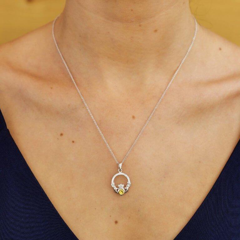 Claddagh Birthstone November Pendant Adorned With Swarovski Crystal Sw101Tz_2