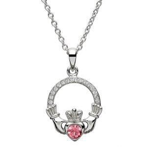 Claddagh Birthstone October Pendant Adorned With Swarovski Crystal Sw101Pcz