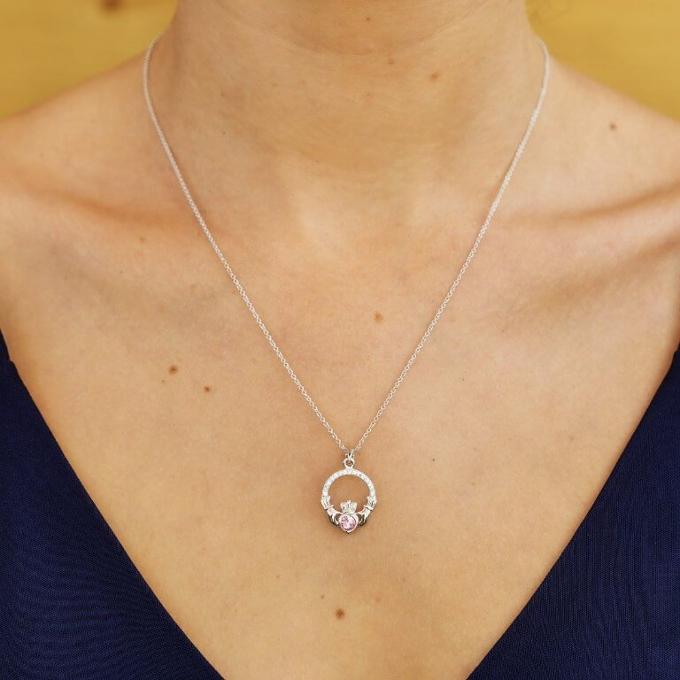 Claddagh Birthstone October Pendant Adorned With Swarovski Crystal Sw101Pcz_2