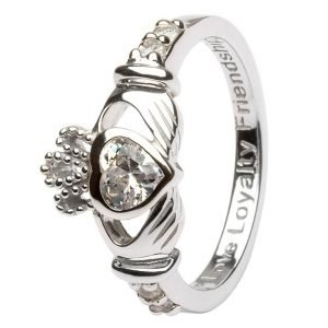 Claddagh Birthstone Ring April Sl90Cz