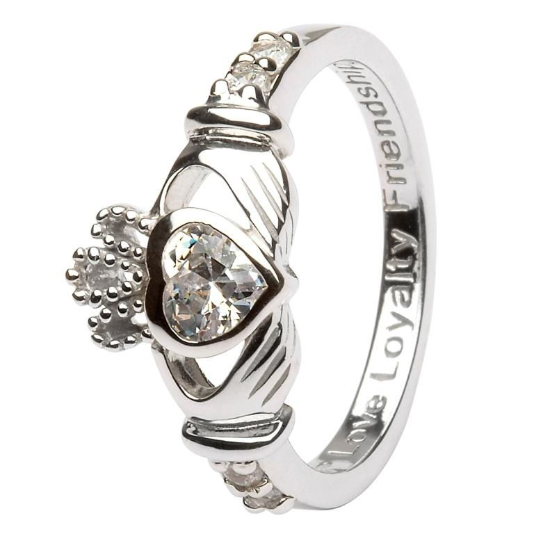 Claddagh Birthstone Ring April Sl90Cz