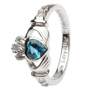 Claddagh Birthstone Ring December Sl90Bt