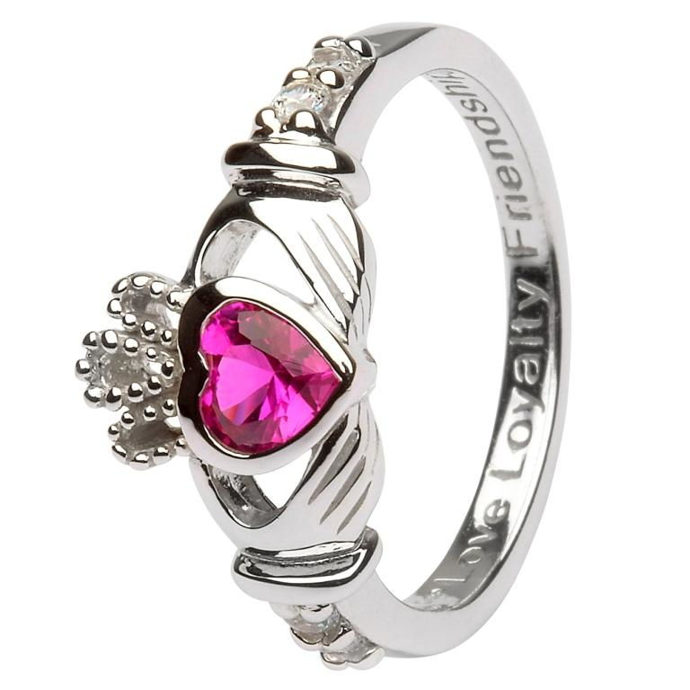 Claddagh Birthstone Ring July Sl90Rb