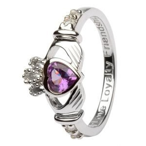 Claddagh Birthstone Ring June Alexandrite Sl90Ax