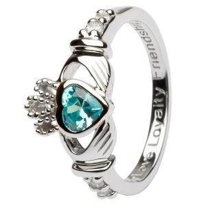 Claddagh Birthstone Ring March Sl90Aq