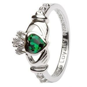 Claddagh Birthstone Ring May Sl90Gr