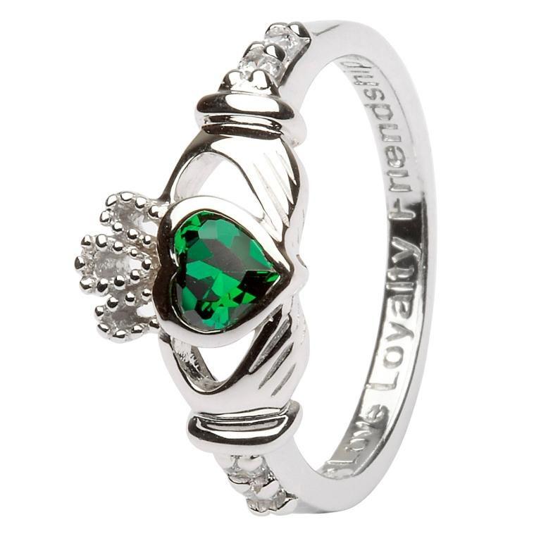 Claddagh Birthstone Ring May Sl90Gr