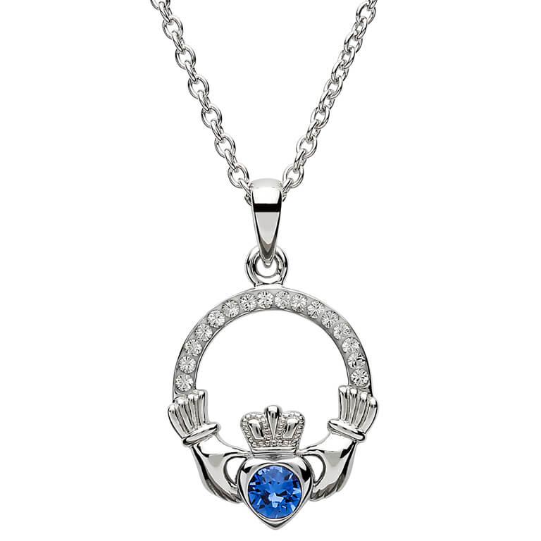Claddagh Birthstone September Pendant Adorned With Swarovski Crystal Sw101S