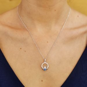 Claddagh Birthstone September Pendant Adorned With Crystal Sw101S_2