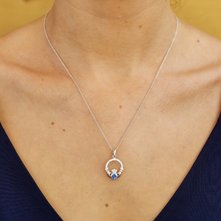 Claddagh Birthstone September Pendant Adorned With Swarovski Crystal Sw101S_2