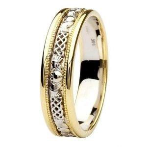 Claddagh Celtic Design 14K Gold Wedding Ring Br8Yw