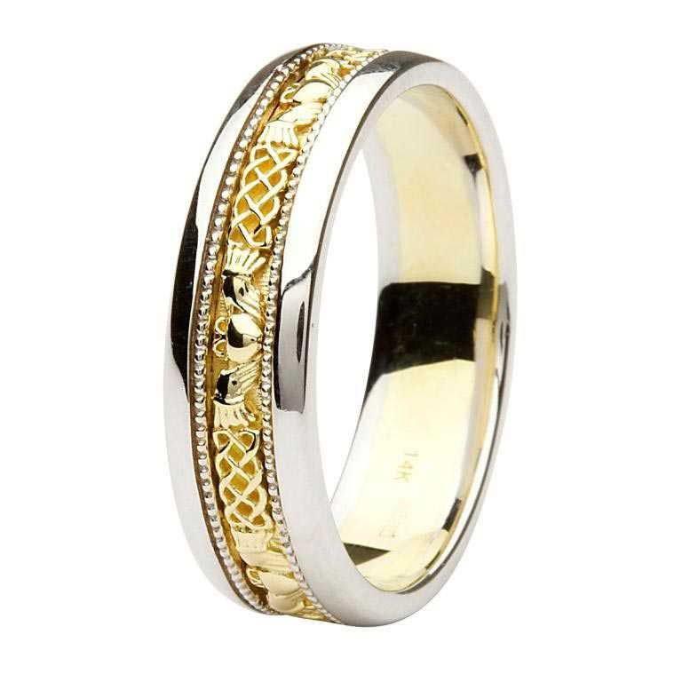 Claddagh Celtic Design Gold Wedding Ring Br8Wy