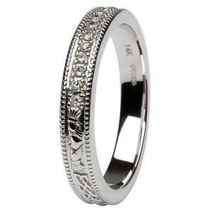 Claddagh Celtic Diamond Set 14K White Gold Wedding Ring Br6W