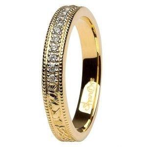 Claddagh Celtic Diamond Set 14K Yellow Gold Wedding Ring Br6