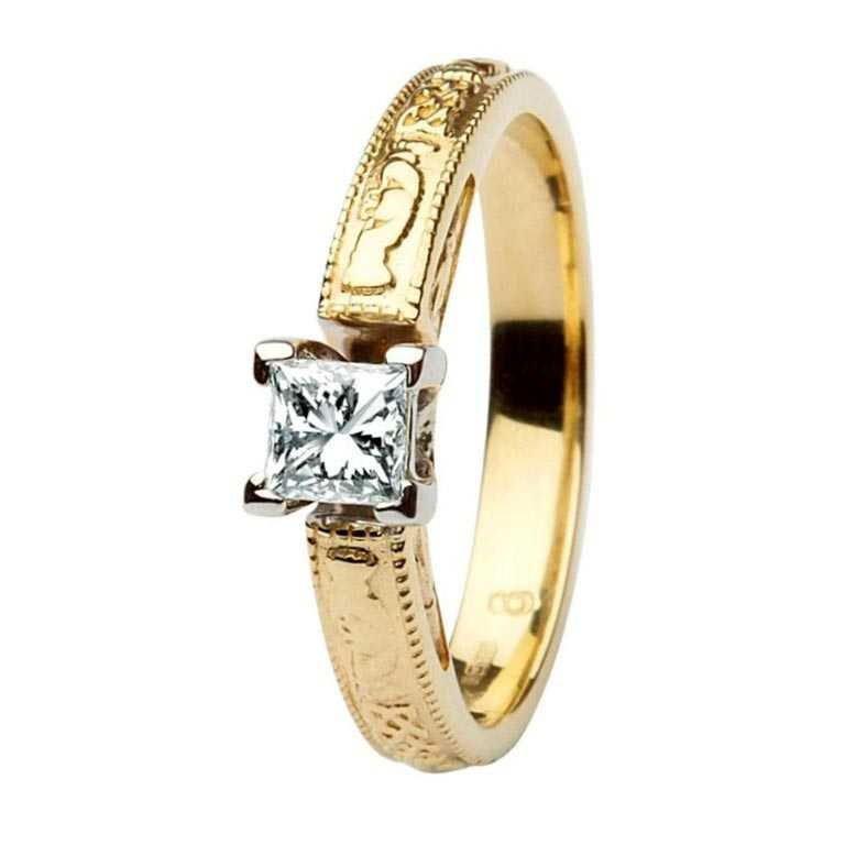 Claddagh Celtic Solitaire Diamond 14K Engagement Ring Princess Cut Br2 Pr