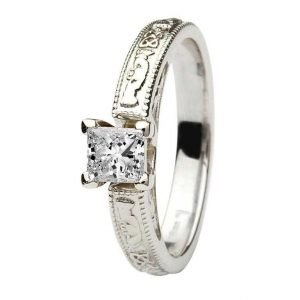 Claddagh Celtic Solitaire Diamond 14K White Gold Engagement Ring Princess Cut Br2W Pr