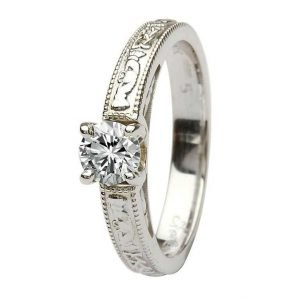 Claddagh Celtic Solitaire Diamond 14K White Gold Engagement Ring Round Cut Br2W Rd