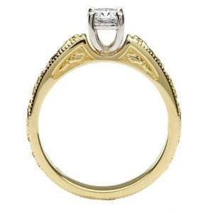 Claddagh Celtic Solitaire Diamond 14K Yellow And White Gold Ring Round Cut Br2 Rd_2