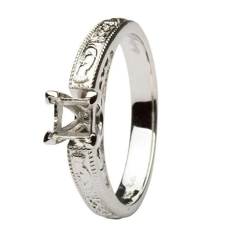 Claddagh Celtic Solitaire Mount Only 14K White Gold Ring Princess Cut Br2W Pr Mount Only
