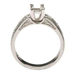 Claddagh Celtic Solitaire Mount Only 14K White Gold Ring Princess Cut Br2W Pr Mount Only_2