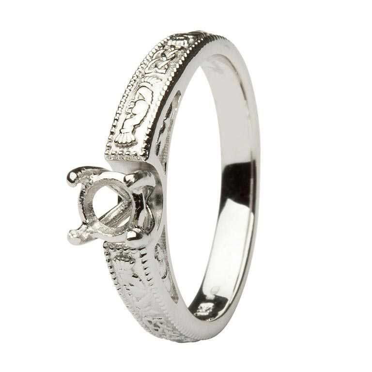 Claddagh Celtic Solitaire Mount Only 14K White Gold Ring Round Cut Br2W Rd Mount Only