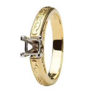 Claddagh Celtic Solitaire Mount Only 14K Yellow And White Gold Ring Princess Cut Br2 Pr Mount Only