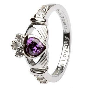 Claddagh February Birthstone Ring Sl90Ay