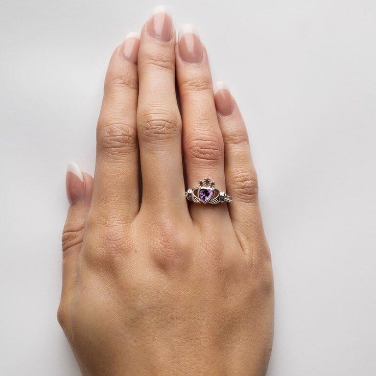 Claddagh February Birthstone Ring Sl90Ay_3