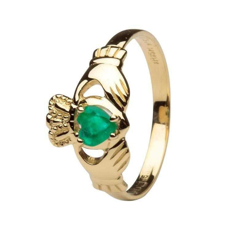 Claddagh Heart Emerald Set Ring L62E