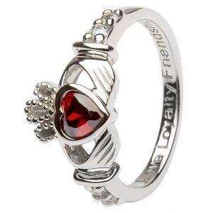 Claddagh January Birthstone Ring Sl90G