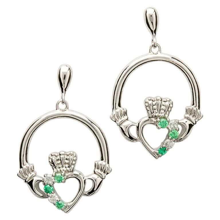 Claddagh Part Set Silver Earrings Se1053Grcz