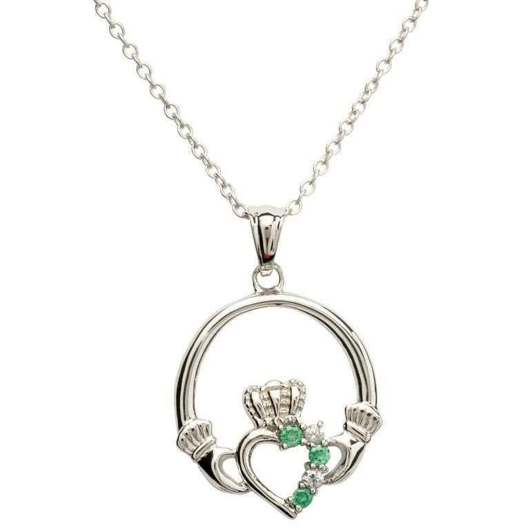 Claddagh Part Set Silver Necklace Sp1053Grcz