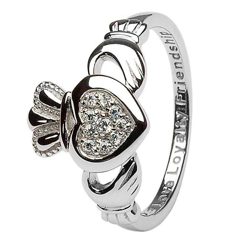 Claddagh Pave Set Ladies Ring Sl97