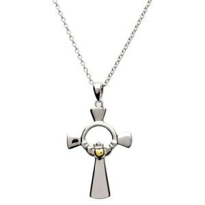 Claddagh Silver Cross With Gold Plate Heart Sf22