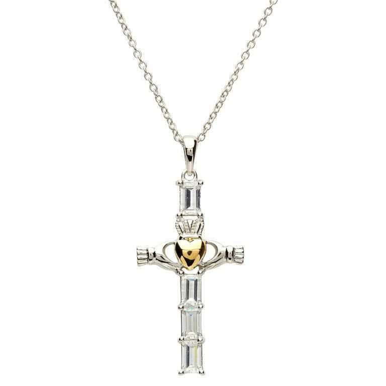 Claddagh Silver Cz Cross With Gold Plate Heart Sf21