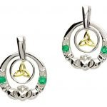 Claddagh Silver Emerald Diamond Earrings Se2021 - Gallery Thumbnail Image