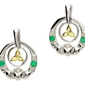 Claddagh Silver Emerald Diamond Earrings Se2021