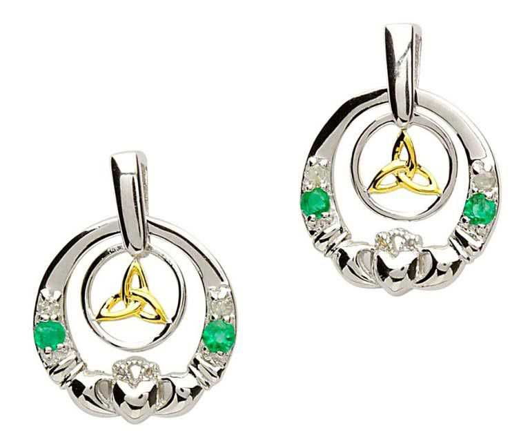 Claddagh Silver Emerald Diamond Earrings Se2021