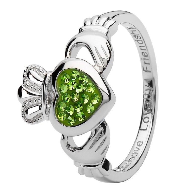 Claddagh Silver Ring Encrusted With Peridot Swarovski Crystal Sw86