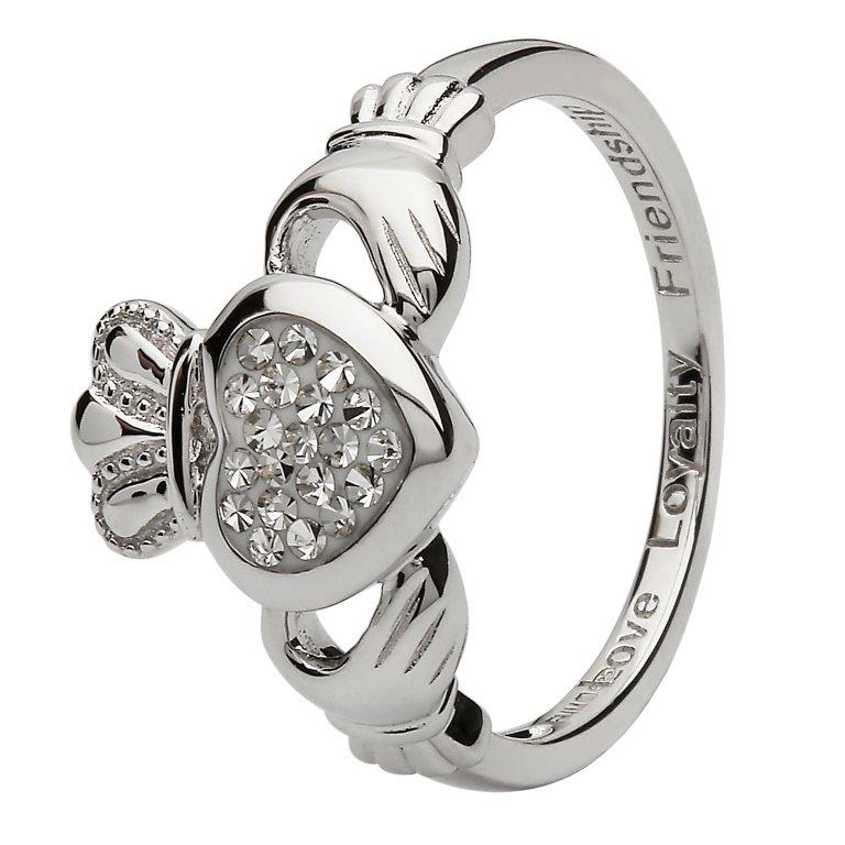 Claddagh Silver Ring Encrusted With White Swarovski Crystal Sw85