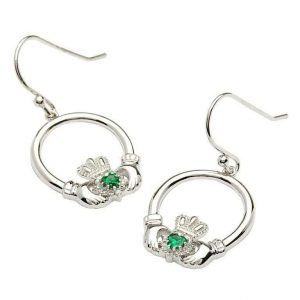 Claddagh Silver Stone Set Earrings Se2008Grcz