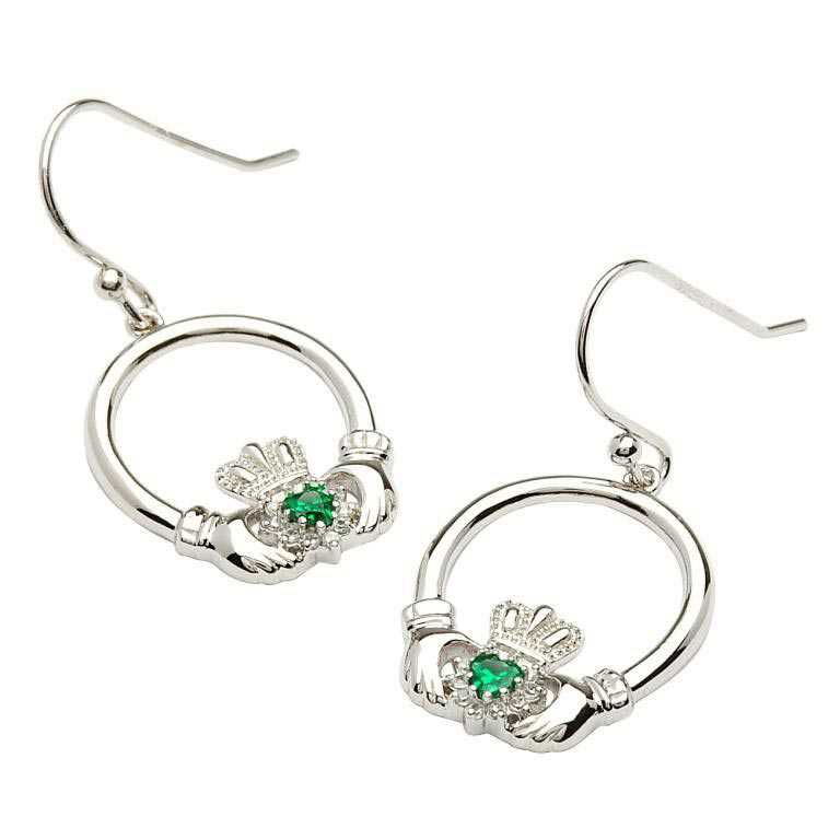 Claddagh Silver Stone Set Earrings Se2008Grcz